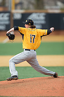 Towson Tigers relief pitcher Mason Anderson (17) in action against the Wake Forest Demon Deacons at Wake Forest Baseball Park on March 1, 2015 in Winston-Salem, North Carolina.  The Demon Deacons defeated the Tigers 15-8.  (Brian Westerholt/Four Seam Images)