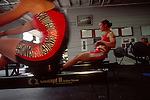Women rowers training in the gym, ARCO Olympic Training Center, Chula Vista, California, US National Rowing team training on rowing machines, Linda Murrie,.