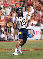 September 22, 2012: California's Zach Maynard throws the ball to his receiver during a game against USC at the Los Angeles Memorial Coliseum, Los Angeles, Ca  USC defeated California 27- 9