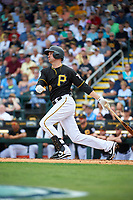Pittsburgh Pirates shortstop Jordy Mercer (10) hits a home run during a Grapefruit League Spring Training game against the New York Yankees on March 6, 2017 at LECOM Park in Bradenton, Florida.  Pittsburgh defeated New York 13-1.  (Mike Janes/Four Seam Images)