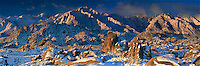 902000012 panoramic view of winters dawn light on mount whitney mount russell lone pine peak and the eastern sierras mountain range with the spectacular granite boulders of the alabama hills in the foreground near lone pine in kern county california