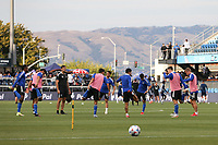 SAN JOSE, CA - AUGUST 13: San Jose Earthquakes warmup before a game between Vancouver Whitecaps and San Jose Earthquakes at PayPal Park on August 13, 2021 in San Jose, California.