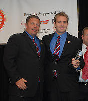 Bryan Namoff receiving defender of the year honors from DC United assistant coach Chad Ashton. DC United 4th Annual Awards Reception honoring player achievements for the 2007 season took place at the Ronald Reagan Building in Washington, DC on October 22, 2007.