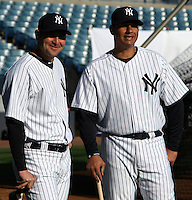 February 25, 2010:   Francisco Cervelli and Mike Rivera of the New York Yankees wait in line for photo day at Legends Field in Tampa, FL.  Photo By Mike Janes/Four Seam Images
