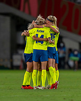 TOKYO, JAPAN - JULY 21: Sweden players celebrates win during a game between Sweden and USWNT at Tokyo Stadium on July 21, 2021 in Tokyo, Japan.