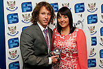St Johnstone FC Players Awards Night...01.05.11  Lovatt Hotel Perth..Stevie May presented with the Muirton Park Travel Club Young Player of the Year Award by Leoni Leitch.Picture by Graeme Hart..Copyright Perthshire Picture Agency.Tel: 01738 623350  Mobile: 07990 594431