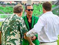 AUSTIN, TX - JUNE 19: Matthew McConaughey talks to fans before a game between San Jose Earthquakes and Austin FC at Q2 Stadium on June 19, 2021 in Austin, Texas.