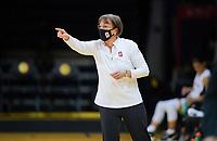 SANTA CRUZ, CA - JANUARY 08: Tara Vanderveer during a game between University of Oregon and Stanford University at Kaiser Permanente Arena on January 08, 2021 in Santa Cruz, California.