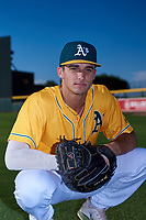 AZL Athletics Gold Drew Millas (33) poses for a photo before an Arizona League game against the AZL Rangers on July 15, 2019 at Hohokam Stadium in Mesa, Arizona. The AZL Athletics Gold defeated the AZL Rangers 9-8 in 11 innings. (Zachary Lucy/Four Seam Images)