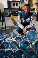 Tripoli, Libya - Young Libyan Man Selling Drums, Holiday Market, Muhammad's Birthday