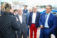 Henri LEROY, Bernard BROCHAND et Marc PAJOT, Parrain du nouveau quai Catamarans, lors de l'inauguration du Salon du Bateau - Les Nouvelles Vagues du Nautisme - au Port de la Napoule à Mandelieu, Sud de la France, vendredi 14 avril 2017. # INAUGURATION DU SALON DU BATEAU A MANDELIEU