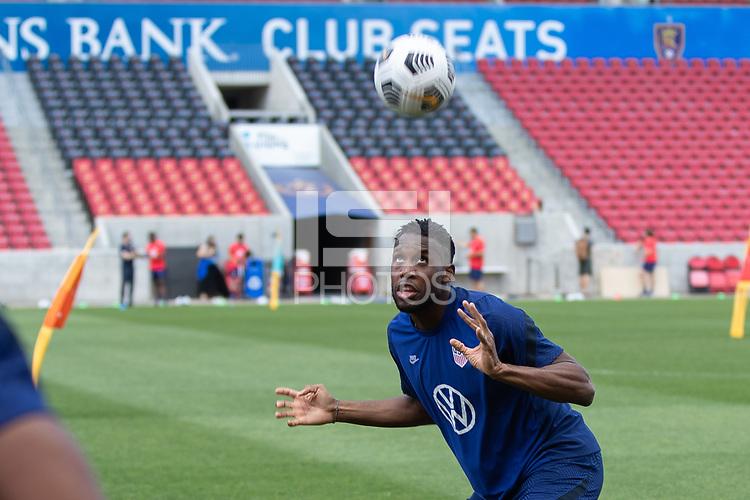 SANDY, UT - JUNE 8: Jordan Siebatcheu heads the ball during a training session at Rio Tinto Stadium on June 8, 2021 in Sandy, Utah.