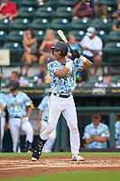 Bradenton Marauders Endy Rodriguez (5) bats during a game against the Daytona Tortugas on June 12, 2021 at LECOM Park in Bradenton, Florida.  (Mike Janes/Four Seam Images)