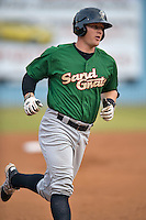Savannah Sand Gnats designated hitter Matt Oberste #23 rounds the bases during a game against the  Asheville Tourists at McCormick Field July 17, 2014 in Asheville, North Carolina. The Tourists defeated the Sand Gnats 8-7. (Tony Farlow/Four Seam Images)