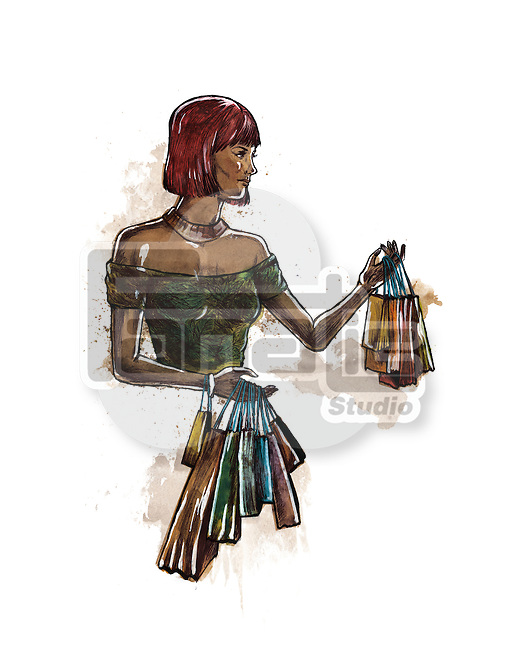 Illustration of shopaholic woman with bags against white background
