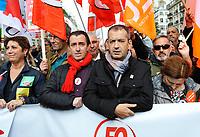 October 10 2017, Paris, France. Demonstration against the Labor Law. A spokesman of FO was present. # MANIFESTATION CONTRE LA LOI TRAVAIL