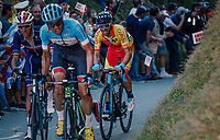 Michael Woods (CAN/EducationFirst-Drapac) leading Romain Bardet (FRA/AG2R-LaMondiale) & Alejandro Valverde (ESP/Movistar) atop the ridiculously steep Hôll Climb in the final lap<br /> <br /> MEN ELITE ROAD RACE<br /> Kufstein to Innsbruck: 258.5 km<br /> <br /> UCI 2018 Road World Championships<br /> Innsbruck - Tirol / Austria