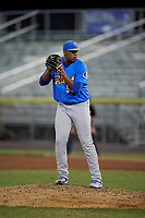 Myrtle Beach Pelicans pitcher Erling Moreno (50) during a Carolina League game against the Potomac Nationals on August 14, 2019 at Northwest Federal Field at Pfitzner Stadium in Woodbridge, Virginia.  Potomac defeated Myrtle Beach 7-0.  (Mike Janes/Four Seam Images)