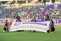 Orlando, Florida - Sunday, May 14, 2016: Orlando City Foundation Banner is displayed during introductions of<br /> a National Women's Soccer League match between Orlando Pride and New York Flash at Camping World Stadium.