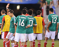 Mexico Javier Hernadez (14) salutes the fans at the end of the game.   Mexico defeated Guatemala 2-1 in the quaterfinals for the 2011 CONCACAF Gold Cup , at the New Meadowlands Stadium, Saturday June 18, 2011.