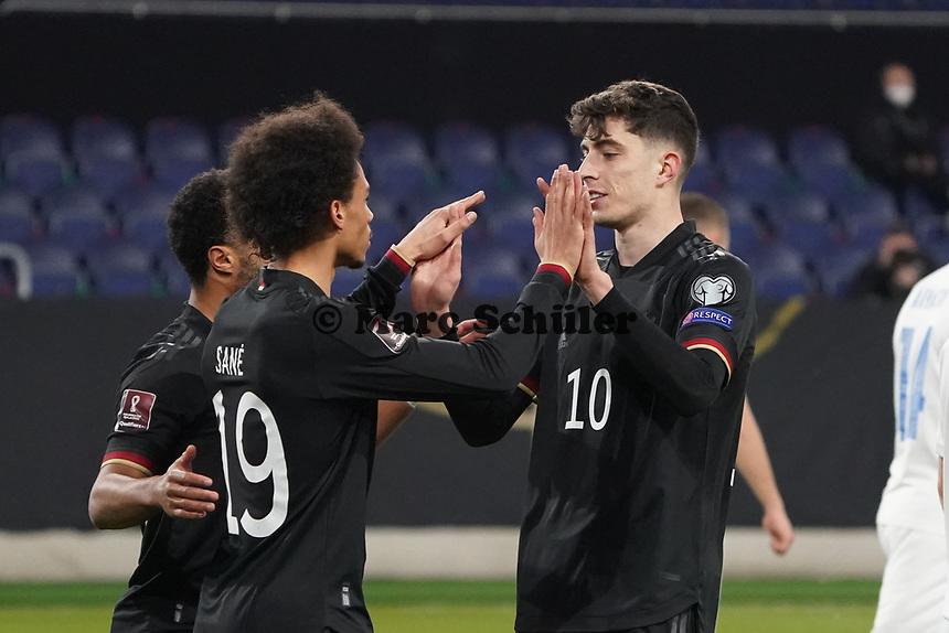 celebrate the goal, Torjubel zum 2:0 um Kai Havertz (Deutschland, Germany) mit Leroy Sane (Deutschland Germany) - 25.03.2021: WM-Qualifikationsspiel Deutschland gegen Island, Schauinsland Arena Duisburg