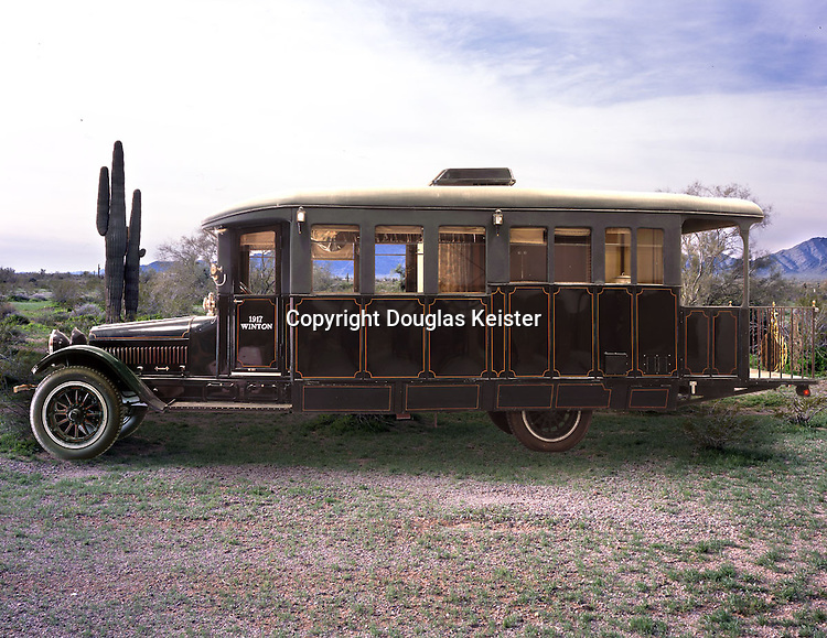 """This 1917 Winton 6-cylinder, 48-horsepower house car was custom built by McKay Carriage Works for a southern politician NOTE: PLEASE SEE ADDITIONAL INFORMATION BELOW.<br /> <br /> The house car eventually made it into the collection of Metropolitan Opera star James Melton and resided on his Connecticut farm for a number of years. In the late 1950s, Melton had to liquidate much of his collection to pay off debts, and Bill Harrah purchased the Winton for his Harrah's Automobile Collection in Sparks, Nevada. Unfortunately, after purchasing the vehicle, Harrah found out that Melton had used the Winton as collateral for one of his numerous loans and the house car was sitting at an impound facility in Massachusetts. Harrah may have had the title, but the sheriff had the Winton. So Harrah consulted his lawyer who informed him that because of some obscure state's rights law, if Harrah could find a way to get the Winton over the state line to Rhode Island, the vehicle would be his. So Harrah instructed one of his employees to wait until the sheriff's deputy, who was guarding the car, left the facility. Then he told the employee to fire up the engine and drive the ten miles to Rhode Island. The employee seized an opportunity when the deputy went off on an errand, but because the Winton's fuel pump was malfunctioning, the employee had to hand pump the gasoline. The wheezing Winton barely made it to Rhode Island. <br /> <br /> Automobile collector Buck Kamphausen acquired the vehicle when over twelve hundred of Harrah's vehicles were auctioned off after Harrah's death in 1978. <br /> <br /> NEW INFORMATION RECEIVED BY A READER IN OCTOBER 2014: """"The original owner was Dr. Fithian of Grove City PA. He used it to campaign for the Prohibition Party. I read on another site that it was used by a southern politician. Not true. My uncle, who has been gone for a number of years, often talked of it and probably worked on it. The early history of the car is well documented in the book, Gr"""