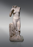 Roman statue of Aphrodite. Marble. Perge. 2nd century AD. Inv no 2014/196. Antalya Archaeology Museum; Turkey.<br /> <br /> Aphrodite is an ancient Greek goddess associated with love, beauty, pleasure, and procreation. She is identified with the planet Venus, which is named after the Roman goddess Venus, with whom Aphrodite was extensively syncretized. Aphrodite's major symbols include myrtles, roses, doves, sparrows, and swans.
