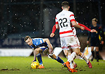 St Johnstone v Hamilton Accies....016.01.16  SPFL  McDiarmid Park, Perth<br /> Steven MacLean is closed down by Greg Docherty and Darren Lyon<br /> Picture by Graeme Hart.<br /> Copyright Perthshire Picture Agency<br /> Tel: 01738 623350  Mobile: 07990 594431