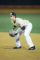 Wake Forest Demon Deacons first baseman Zach Seal (10) on defense against the Davidson Wildcats at David F. Couch Ballpark on February 28, 2017 in Winston-Salem, North Carolina.  The Demon Deacons defeated the Wildcats 13-5.  (Brian Westerholt/Four Seam Images)