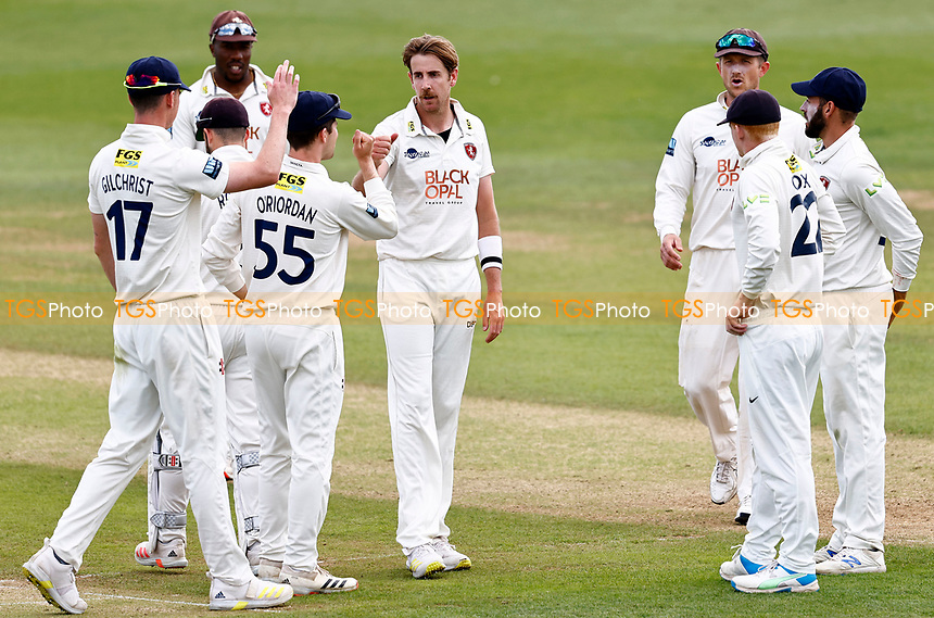 Matt Quinn (C) of Kent is congratulated after taking the wicket of Nathan Buck during Kent CCC vs Northamptonshire CCC, LV Insurance County Championship Group 3 Cricket at The Spitfire Ground on 5th June 2021