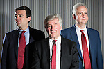 © Joel Goodman - 07973 332324 . 21/07/2016 . Manchester , UK . L-R Tony Lloyd ( current interim Mayor ) , Andy Burnham ( MP for Leigh ) and  Ivan Lewis ( MP for Bury South ) pose ahead of the hustings . Hustings for the Mayoralty of Greater Manchester , at the Renold Building of the University of Manchester . Labour candidates Andy Burnham ( MP for Leigh ) , Tony Lloyd ( current interim Mayor ) and  Ivan Lewis ( MP for Bury South ) debate their relative candidacies . Photo credit : Joel Goodman