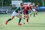 Mannheim, Germany, October 18: During the 1. Bundesliga women fieldhockey match between Mannheimer HC (red) and Uhlenhorst Muelheim (green) on October 18, 2020 at Am Neckarkanal in Mannheim, Germany. Final score 1-0 (HT 0-0). (Copyright Dirk Markgraf / www.265-images.com) *** Maike Schaunig #3 of Uhlenhorst Muelheim, Naomi Heyn #20 of Mannheimer HC
