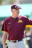Head Coach John Anderson #14 of the Minnesota Golden Gophers during the Big East-Big Ten Challenge vs. the St. John's Red Storm at Jack Russell Memorial Stadium in Clearwater, Florida;  February 18, 2011.  St. John's defeated Minnesota 14-1.  Photo By Mike Janes/Four Seam Images