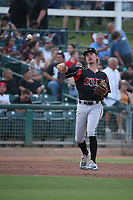 Jarryd Dale (2) of the Lake Elsinore Storm throws to first base during a game against the Inland Empire 66ers at San Manuel Stadium on June 15, 2021 in San Bernardino, California. (Larry Goren/Four Seam Images)