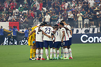 LAS VEGAS, NV - AUGUST 1: The USMNT huddle before a game between Mexico and USMNT at Allegiant Stadium on August 1, 2021 in Las Vegas, Nevada.