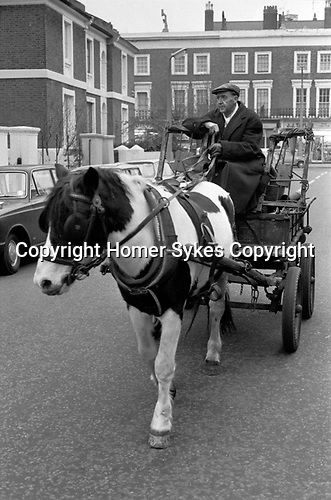 Rag and Bone Man, horse and collecting scrap metal and stuff to sell, Ladbroke Grove West London 1970