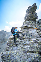 The Via Alta Verzasca is a five day ridge traverse hike above the Valle Verzasca in the Ticino region of Switzerland. Using the iron rings for moving through the steep terrain.