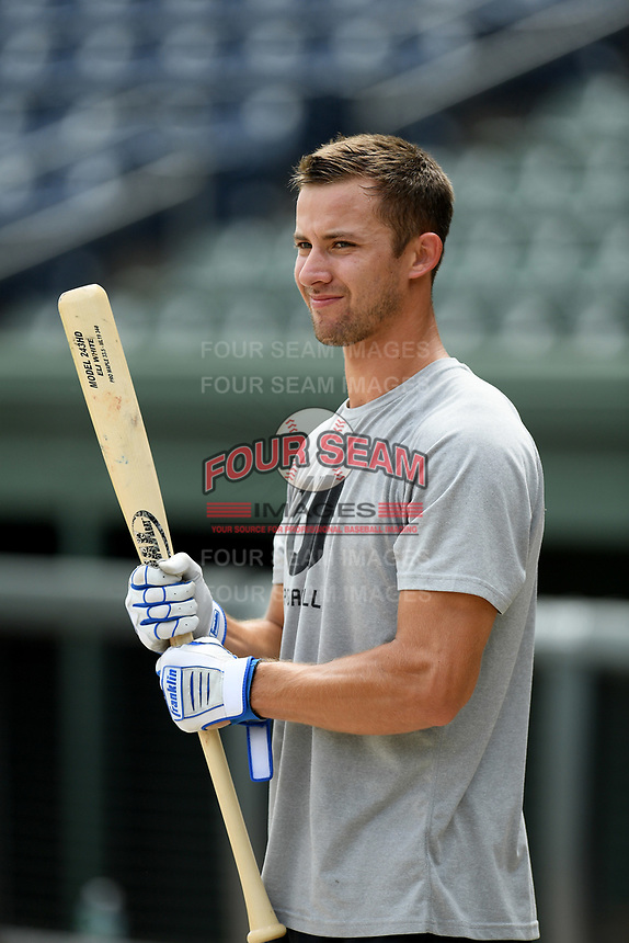 Eli White of the Texas Rangers works out with other Major League and Minor League players from around the region on Friday, June 5, 2020, at Fluor Field at the West End in Greenville, South Carolina, as team workouts remain shut down. White was drafted out of Clemson. (Tom Priddy/Four Seam Images)