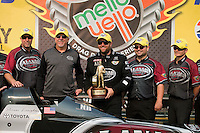 Jul. 28, 2013; Sonoma, CA, USA: NHRA top fuel dragster driver Shawn Langdon celebrates with crew after winning the Sonoma Nationals at Sonoma Raceway. Mandatory Credit: Mark J. Rebilas-