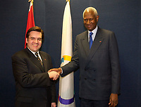 March 18, Montreal, Quebec, Canada<br /> <br /> Denis Coderre, Minister in charge of Francophonie (L) and Abou Diouf, General Secretary, Francophonie International Organisation (O.I.F.) (R) adress the medias<br /> March 18 2004 in Montreal, Canada.<br /> <br /> Abou Diaf was attending the signature of a partnership between that Francophonie Universities Agency (AUF) and the African Virtual University (UVA).<br /> <br /> Mandatory Credit: Photo (©) Copyright 2004 by Pierre Roussel