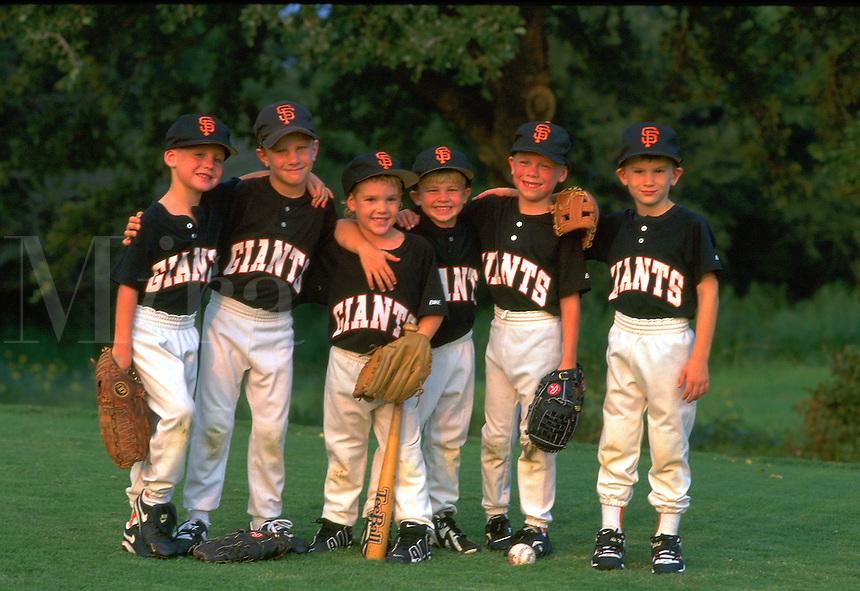 group of little league ball players,  little league ball players.