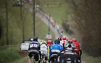 peloton hitting the Haaghoek cobbles<br /> <br /> 71st Dwars door Vlaanderen (1.HC)