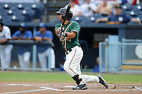 Greensboro Grasshoppers shortstop Anthony Gomez #2 swings at a pitch during game one of a double header against the Asheville Tourists on July 2, 2013 in Asheville, North Carolina.  The Tourists won the game 5-3. (Tony Farlow/Four Seam Images)