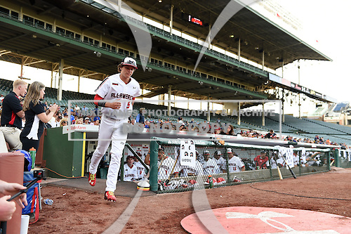 Ryan Mountcastle (5) of Paul J. Hagerty High School in Winter Springs, Florida during the Under Armour All-American Game on August 16, 2014 at Wrigley Field in Chicago, Illinois.  (Mike Janes/Four Seam Images)