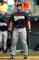 14 March 2006: Mike Kinkade, infielder for the Florida Marlins, stands at the plate after being called out on strikes during a Spring Training game against the Washington Nationals. The Marlins defeated the Nationals 2-1 at Space Coast Stadium, in Viera, Florida...Mandatory Photo Credit: Ed Wolfstein..