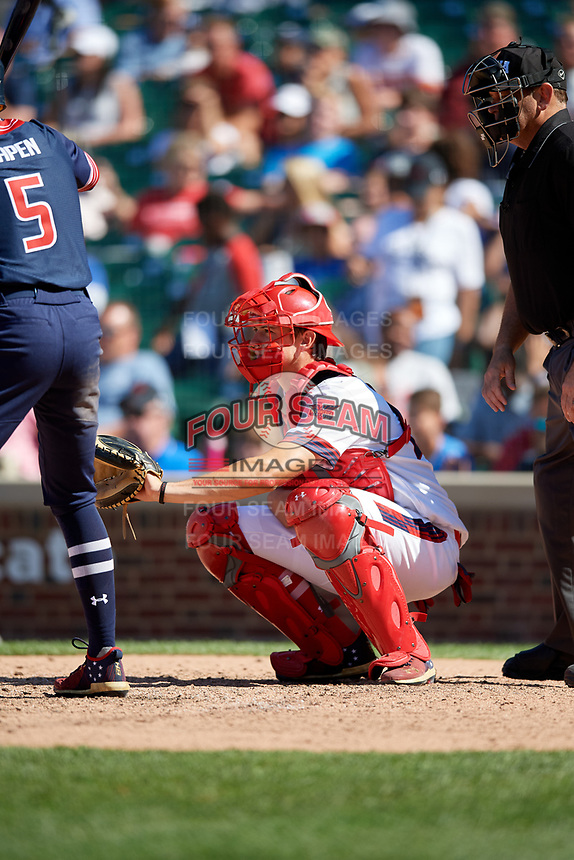 Catcher Daniel Susac (21) during the Under Armour All-America Game, powered by Baseball Factory, on July 22, 2019 at Wrigley Field in Chicago, Illinois.  Daniel Susac attends Jesuit Sacramento High School in Carmichael, California and is committed to the University of Arizona.  (Mike Janes/Four Seam Images)