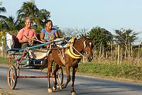Pferdetaxi bei  Sancti Spiritus, Cuba
