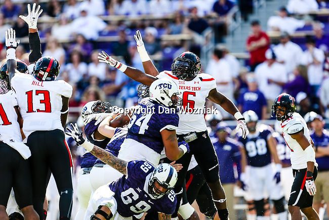 Texas Tech Red Raiders defensive lineman Kris Williams (6) in action during the game between the Texas Tech Red Raiders and the TCU Horned Frogs at the Amon G. Carter Stadium in Fort Worth, Texas.
