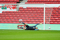 Erwin Mulder of Swansea City fails to save a shot from Sammy Ameobi of Nottingham Forest (not in frame) during the Sky Bet Championship match between Nottingham Forest and Swansea City at the City Ground Stadium in Nottingham, England, UK. Wednesday 15 July 2020