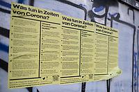 Auswirkungen der Corona-Krise.<br /> Im Bild: Plakate in Berlin-Kreuzberg ueber solidarisches Verhalten.<br /> 2.4.2020, Berlin<br /> Copyright: Christian-Ditsch.de<br /> [NUR FUER REDAKTIONELLE ZWECKE! Werbung nur auf Anfrage beim Fotografen. Inhaltsveraendernde Manipulation des Fotos nur nach ausdruecklicher Genehmigung des Fotografen. Vereinbarungen ueber Abtretung von Persoenlichkeitsrechten/Model Release der abgebildeten Person/Personen liegen nicht vor. NO MODEL RELEASE! Don't publish without copyright Christian-Ditsch.de, Veroeffentlichung nur mit Fotografennennung, sowie gegen Honorar, MwSt. und Beleg. Konto: I N G - D i B a, IBAN DE58500105175400192269, BIC INGDDEFFXXX, Kontakt: post@christian-ditsch.de<br /> Bei der Bearbeitung der Dateiinformationen darf die Urheberkennzeichnung in den EXIF- und  IPTC-Daten nicht entfernt werden, diese sind in digitalen Medien nach §95c UrhG rechtlich geschuetzt. Der Urhebervermerk wird gemaess §13 UrhG verlangt.]
